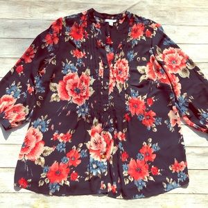 Chapter Club Flower Blouse Size 1X